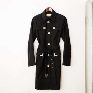 Michael Kors Black Belted Trench with Gold Details